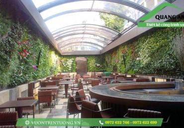 Vườn đứng tuyệt đẹp, xanh mát trong trang trí nhà hàng