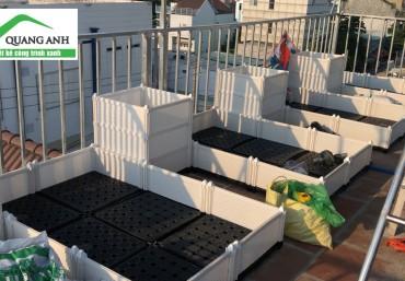 Thiết kế vườn trên mái với ý tưởng chậu ghép thông minh