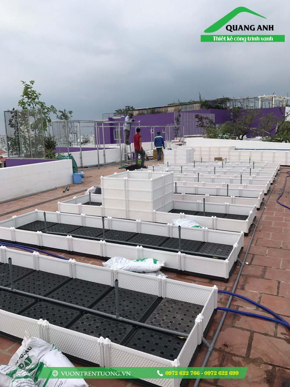 Hình ảnh công trình thực tế chậu ghép trồng rau thông minh trên vườn trên mái