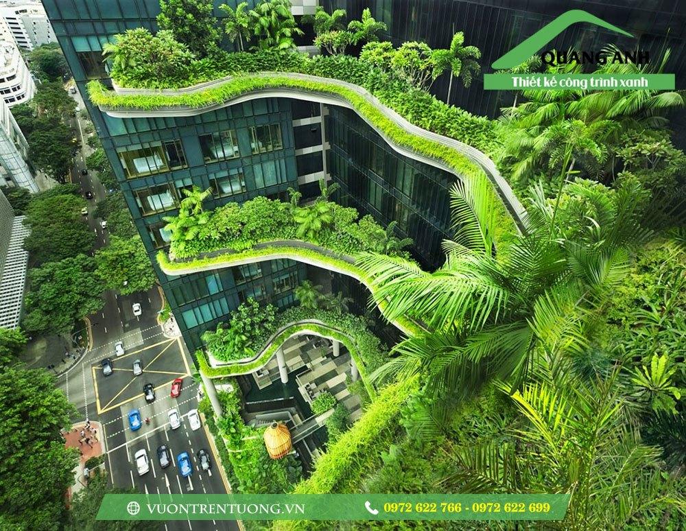 Vườn trên mái sử dụng vỉ thoát nước toàn phần