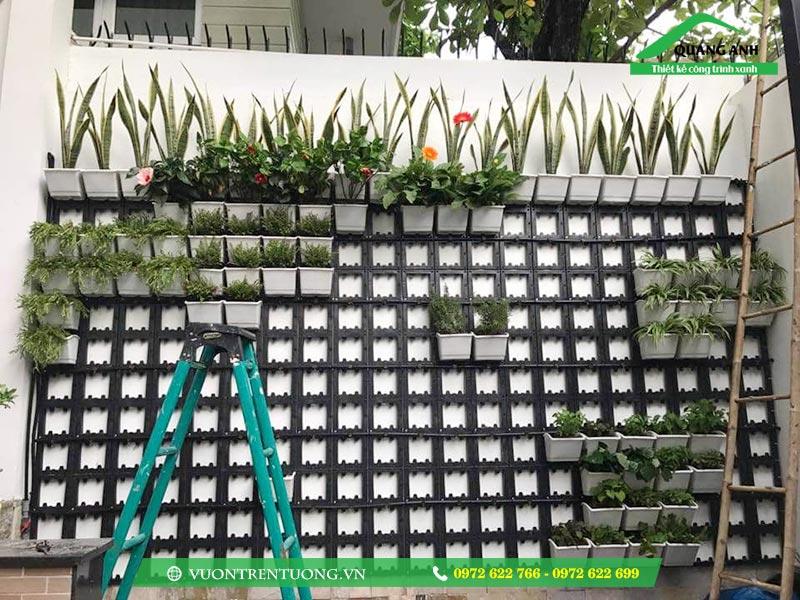 Khung và chậu ghép trồng rau trên tường được sản xuất trên chất liệu nhựa PP